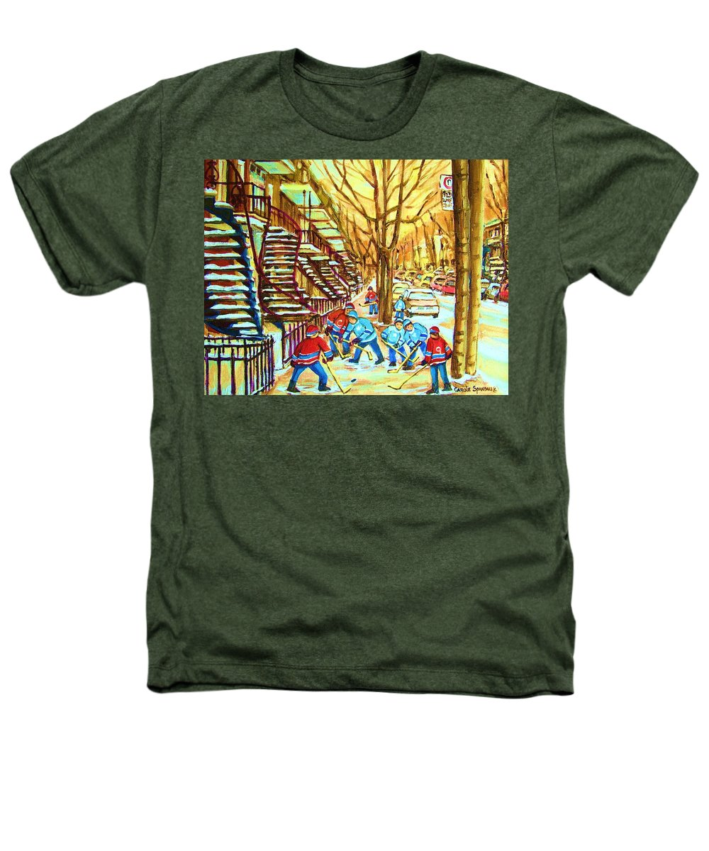 Montreal Heathers T-Shirt featuring the painting Hockey Game Near Winding Staircases by Carole Spandau