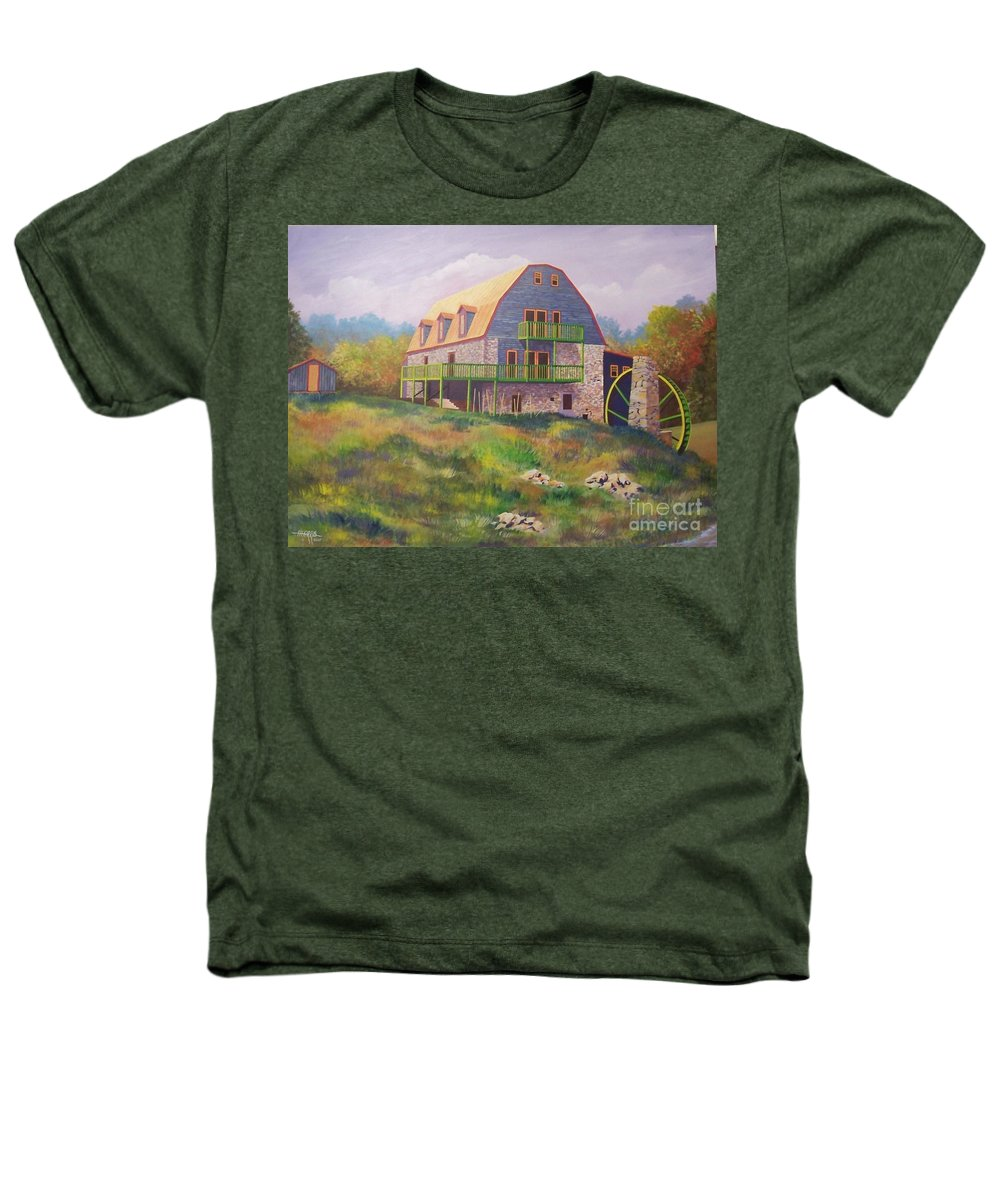 Mill Heathers T-Shirt featuring the painting Mountain Mill by Hugh Harris