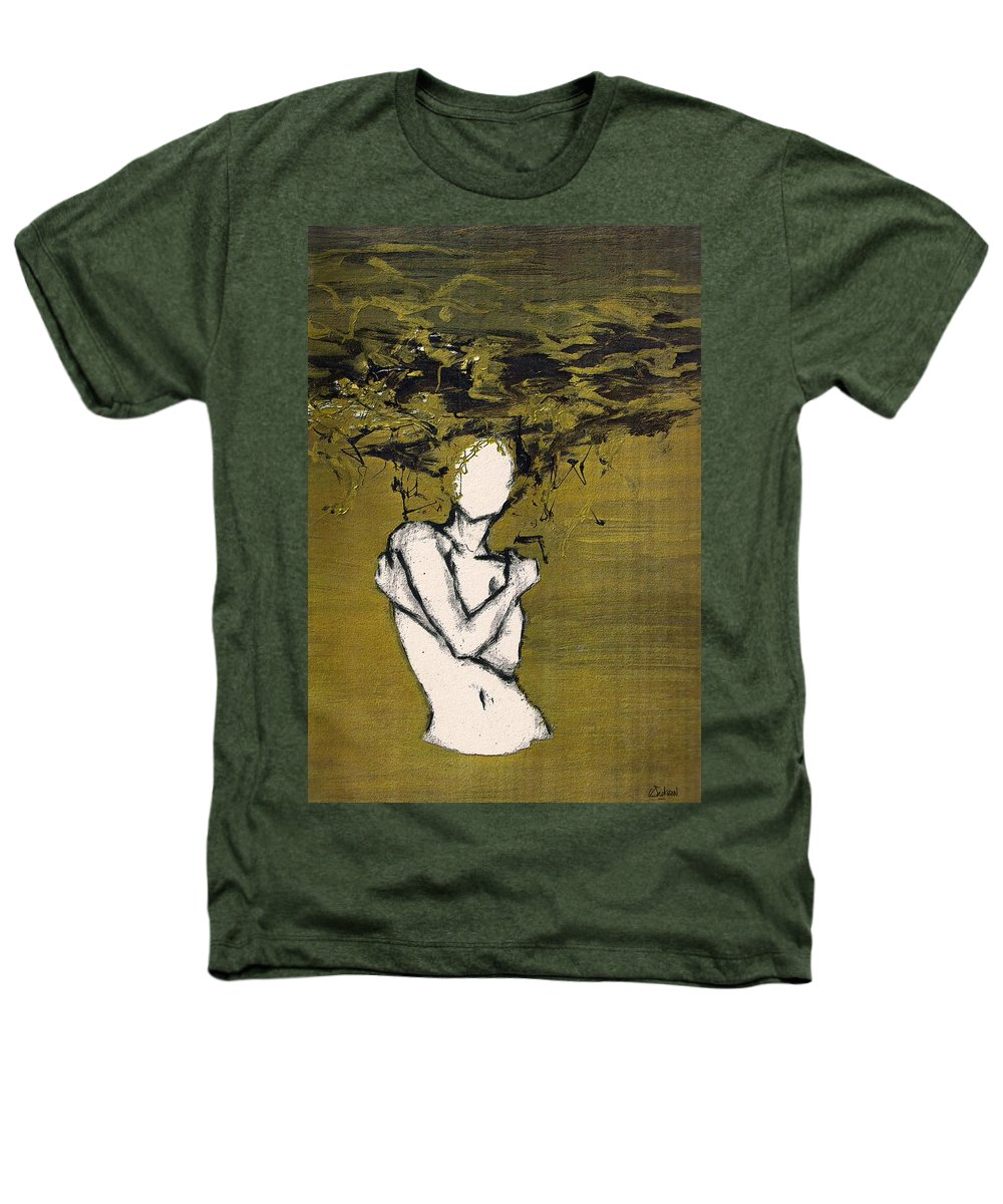 Gold Woman Hair Bath Nude Heathers T-Shirt featuring the mixed media Untitled by Veronica Jackson