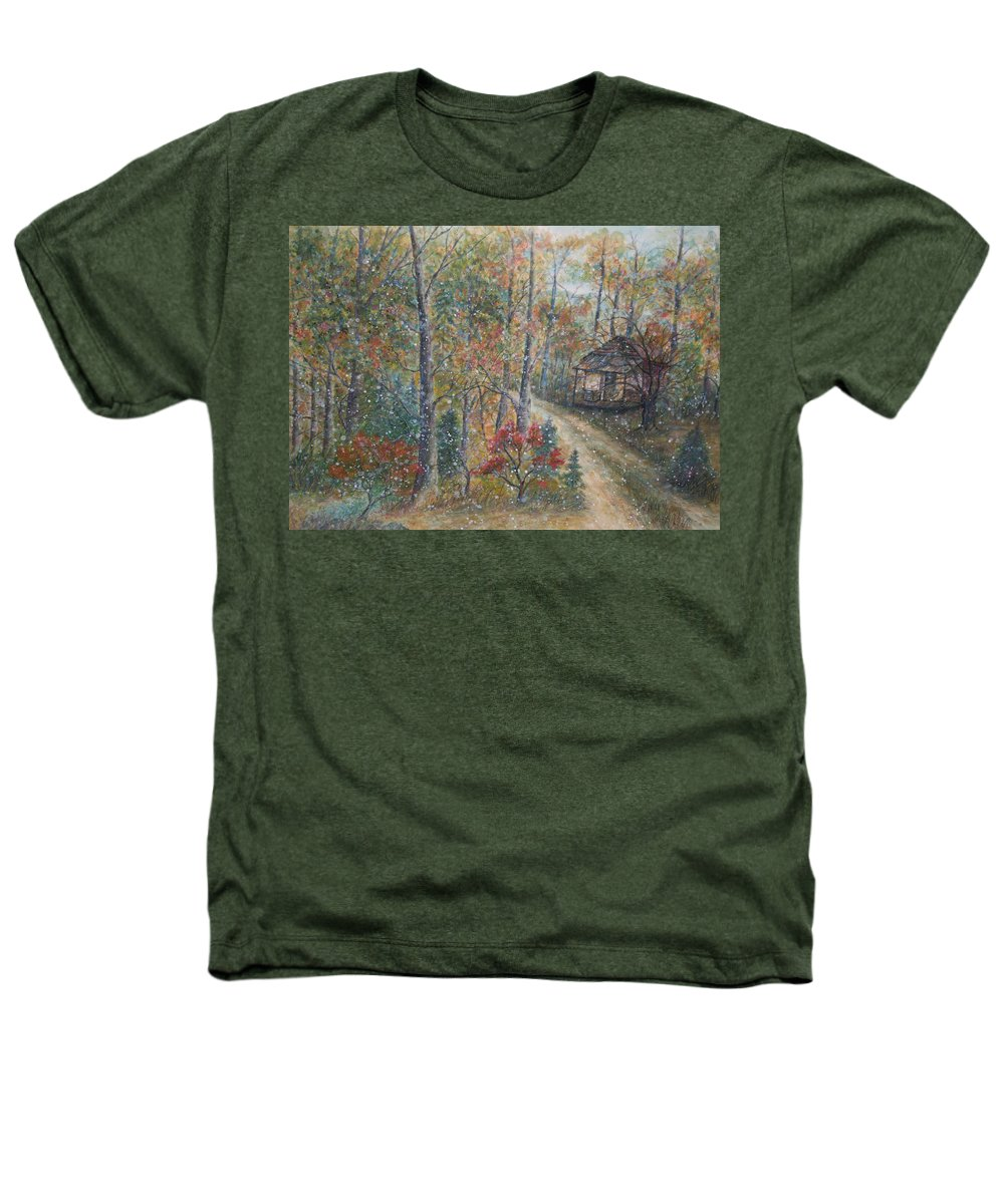Country Road; Old House; Trees Heathers T-Shirt featuring the painting A Bend In The Road by Ben Kiger