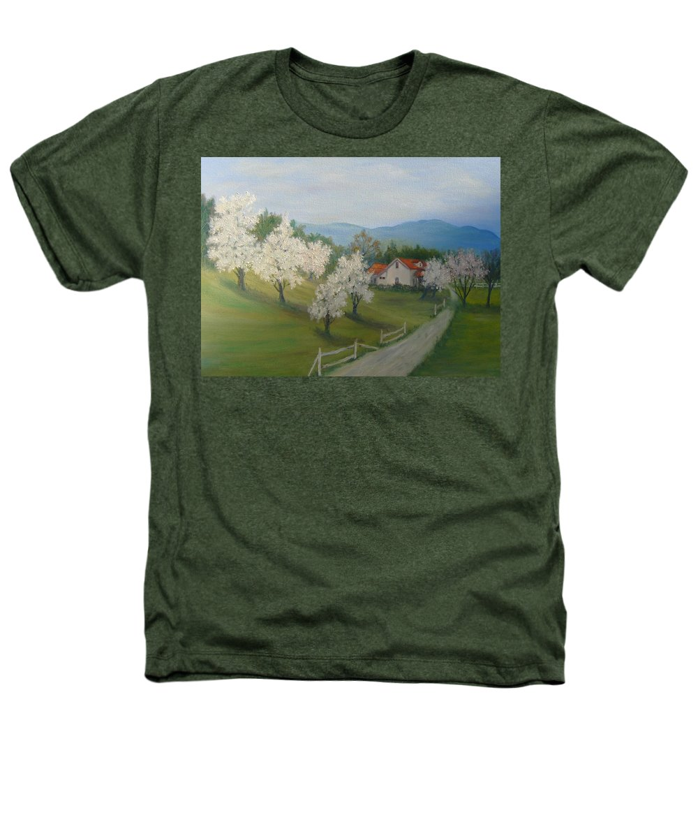 Landscape; Spring; Mountains; Country Road; House Heathers T-Shirt featuring the painting A Day In The Country by Ben Kiger