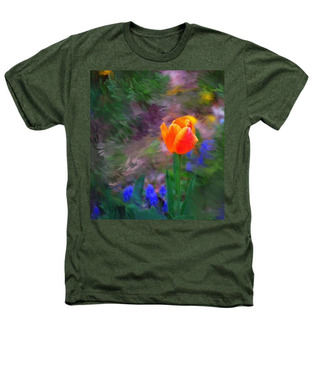 Floral Heathers T-Shirt featuring the digital art A Tulip Stands Alone by David Lane