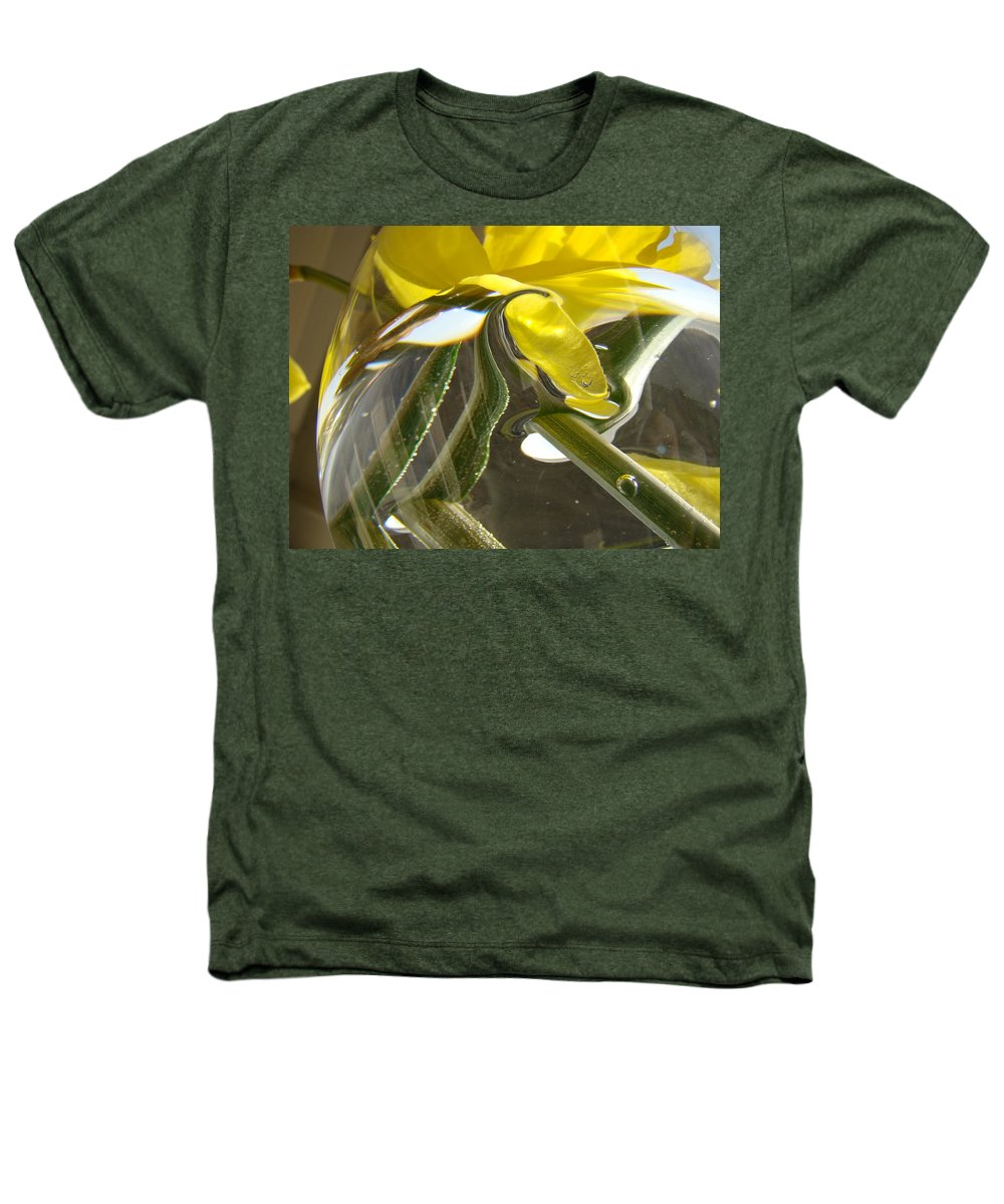 �daffodils Artwork� Heathers T-Shirt featuring the photograph Abstract Artwork Daffodils Flowers 1 Natural Abstract Art Prints Glass Vase Water Art Light Air by Baslee Troutman