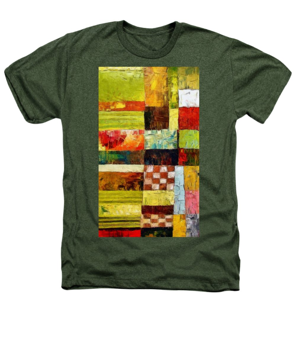 Patchwork Heathers T-Shirt featuring the painting Abstract Color Study With Checkerboard And Stripes by Michelle Calkins