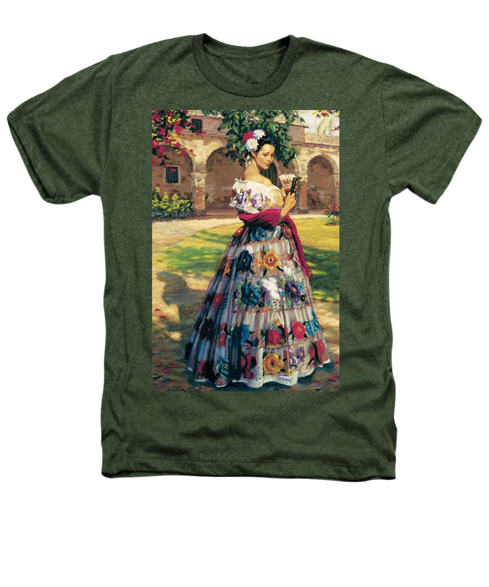 Woman Elaborately Embroidered Mexican Dress. Background Mission San Juan Capistrano. Heathers T-Shirt featuring the painting Al Aire Libre by Jean Hildebrant