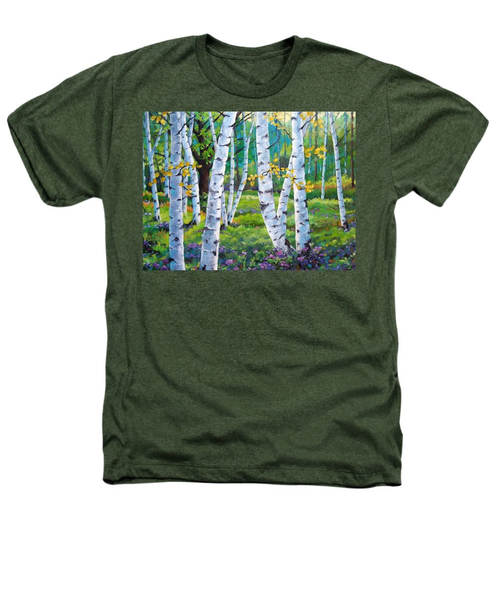 Birche; Birches; Tree; Trees; Nature; Landscape; Landscapes Scenic; Richard T. Pranke; Canadian Artist Painter Heathers T-Shirt featuring the painting Alpine Flowers And Birches by Richard T Pranke
