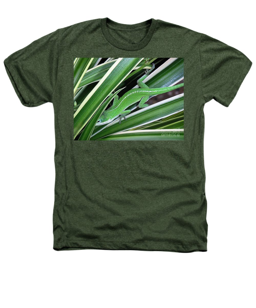 Nature Heathers T-Shirt featuring the photograph Anole Hiding In Spider Plant by Lucyna A M Green