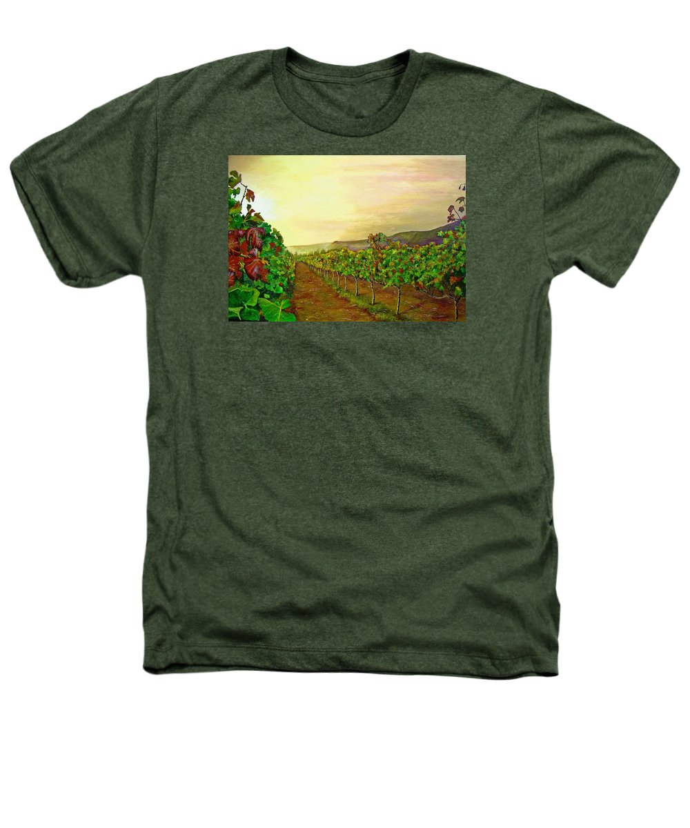 Vineyard Heathers T-Shirt featuring the painting Autumn At Steenberg by Michael Durst