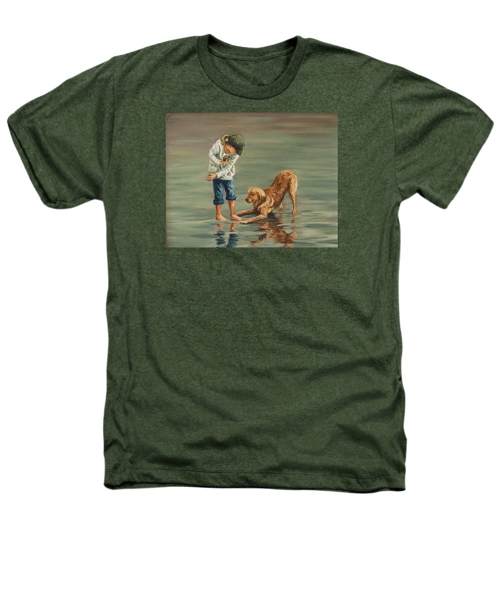 Girl Kid Child Figurative Dog Sea Reflection Playing Water Beach Heathers T-Shirt featuring the painting Autumn Eve by Natalia Tejera