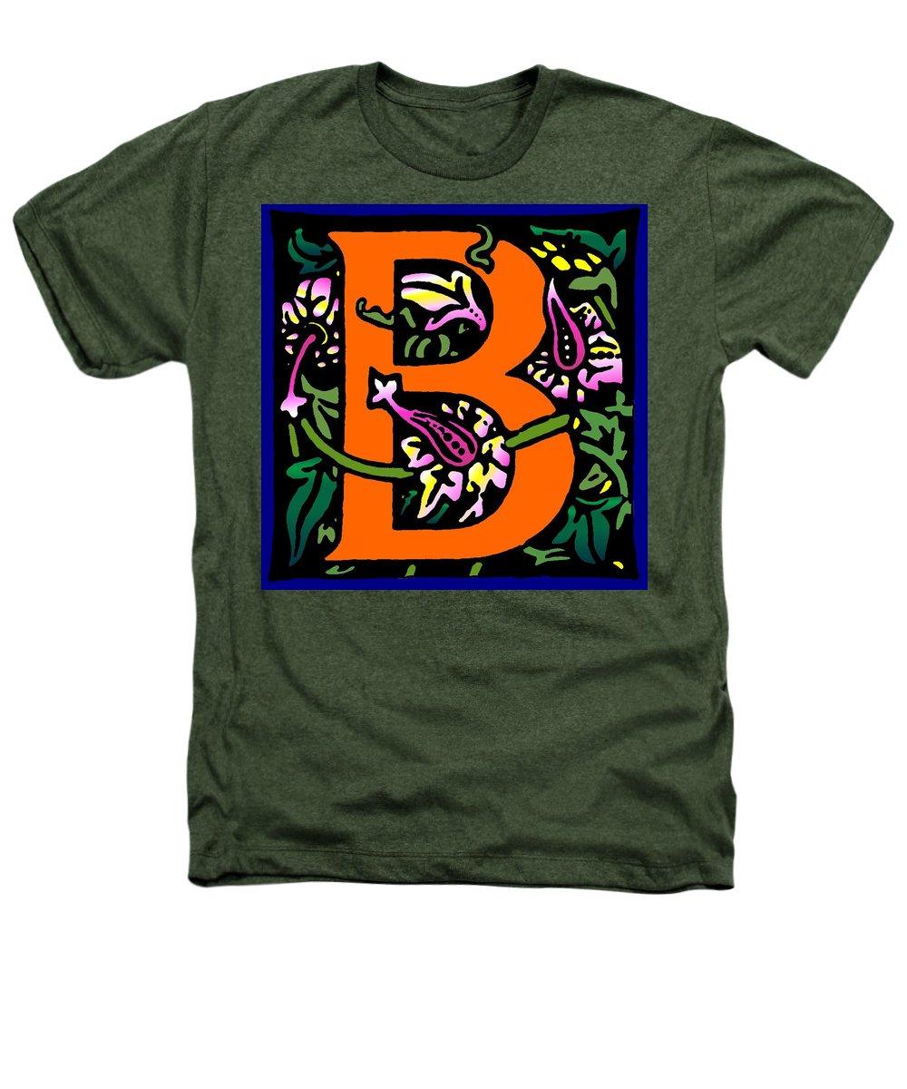 Alphabet Heathers T-Shirt featuring the digital art B In Orange by Kathleen Sepulveda