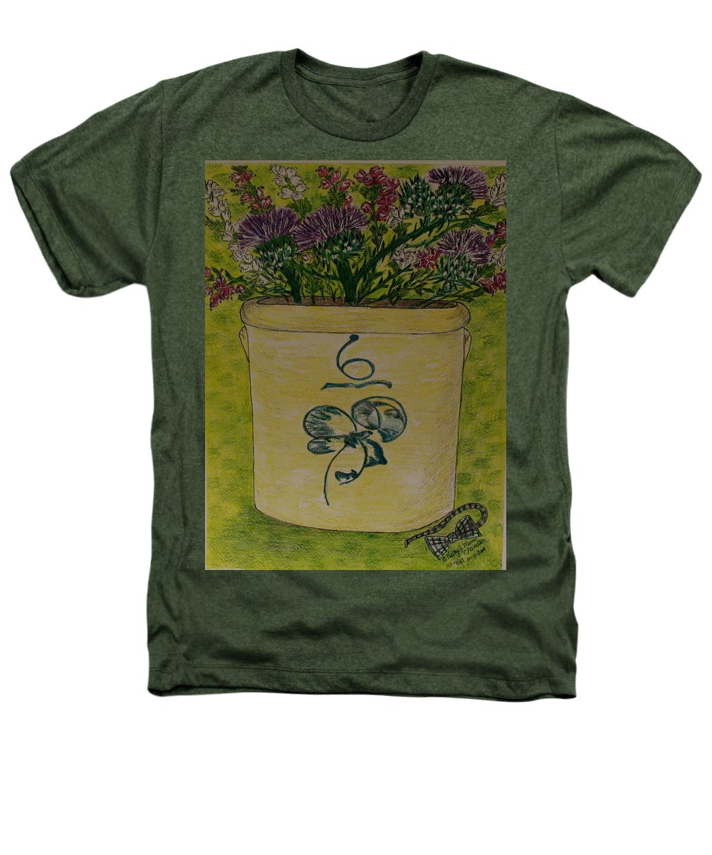 Bee Sting Crock Heathers T-Shirt featuring the painting Bee Sting Crock With Good Luck Bow Heather And Thistles by Kathy Marrs Chandler