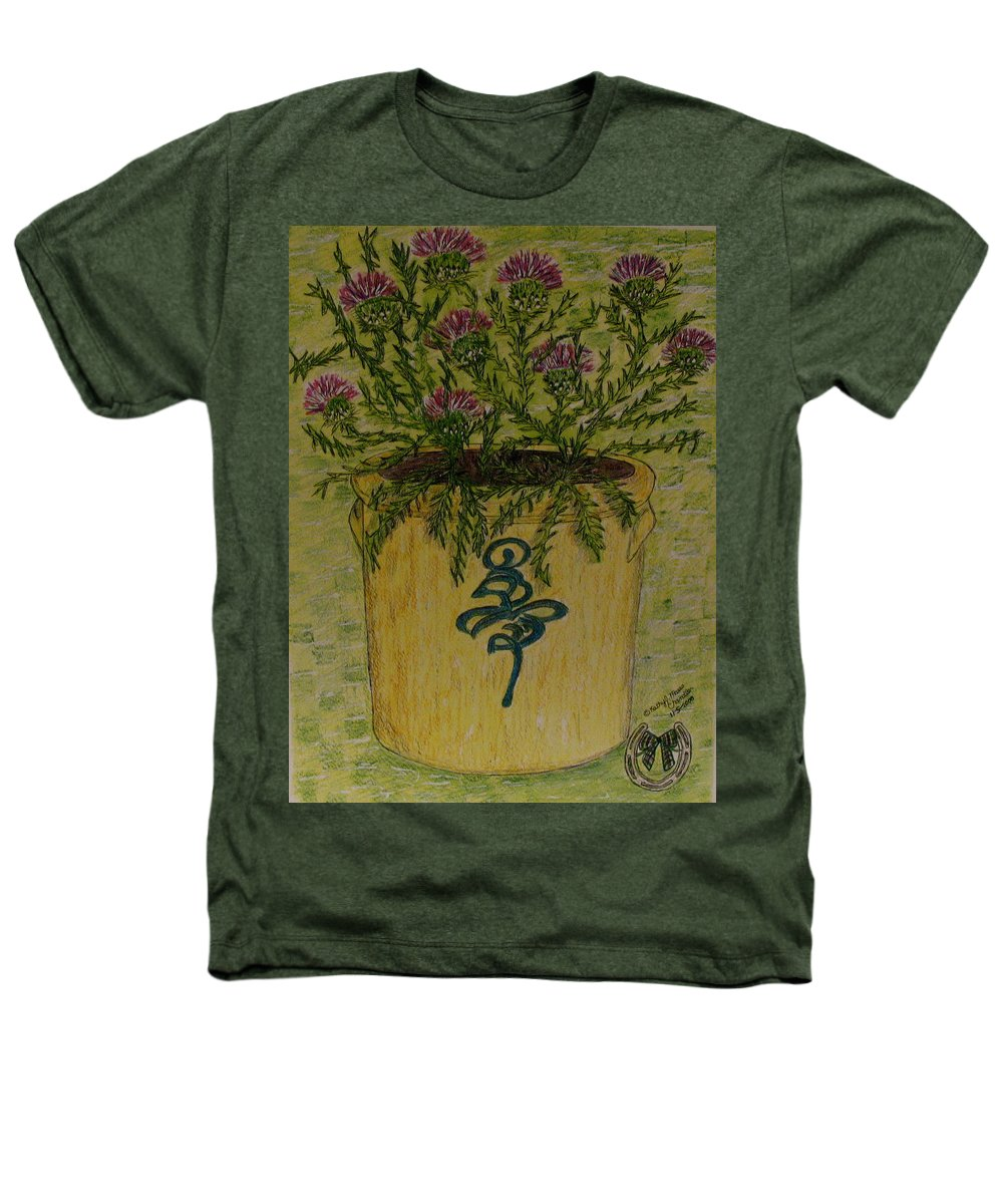 Vintage Heathers T-Shirt featuring the painting Bee Sting Crock With Good Luck Horseshoe by Kathy Marrs Chandler
