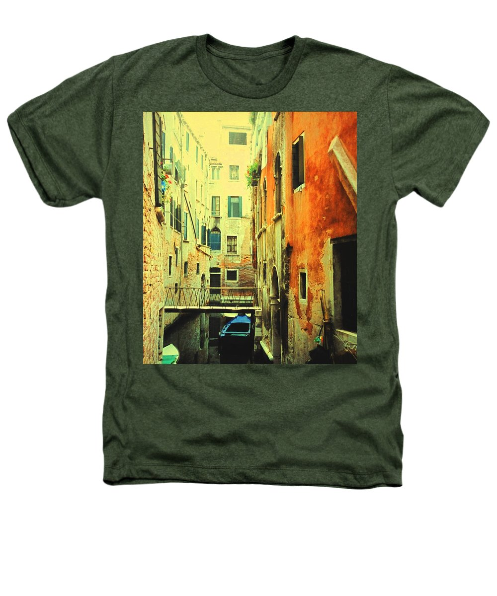 Venice Heathers T-Shirt featuring the photograph Blue Boat In Venice by Ian MacDonald