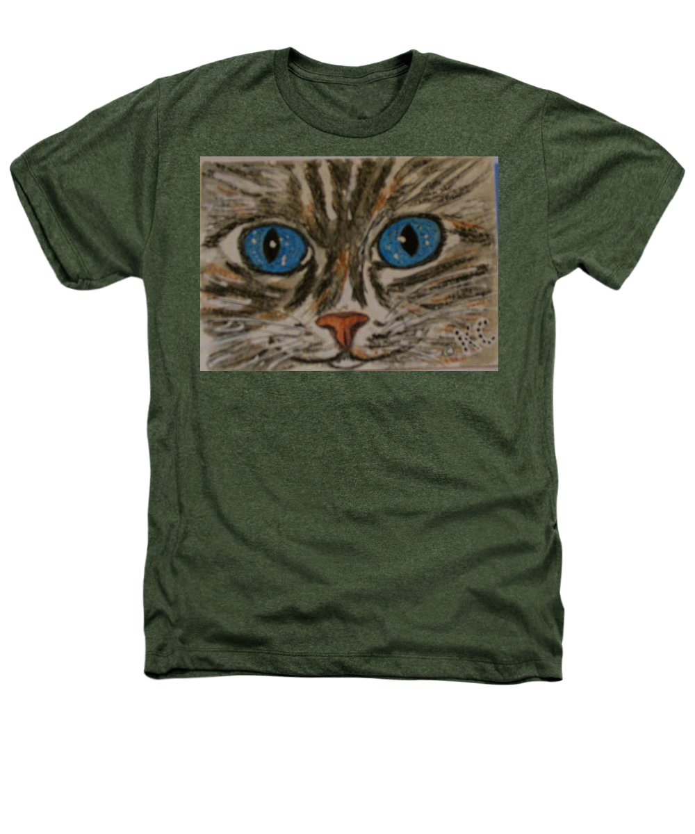 Blue Eyes Heathers T-Shirt featuring the painting Blue Eyed Tiger Cat by Kathy Marrs Chandler