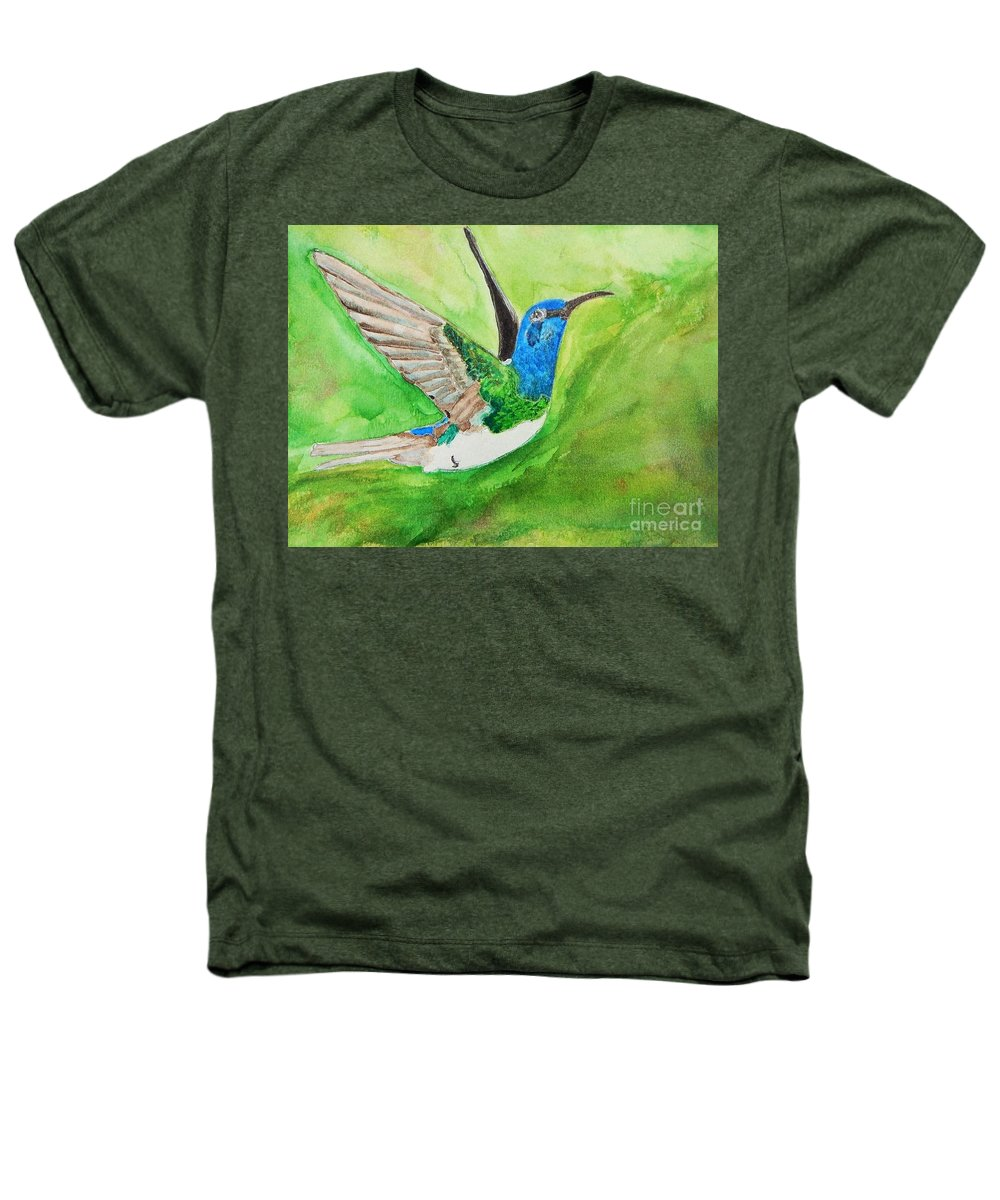 Humming Bird Heathers T-Shirt featuring the painting Blue Humming Bird by Barbara King
