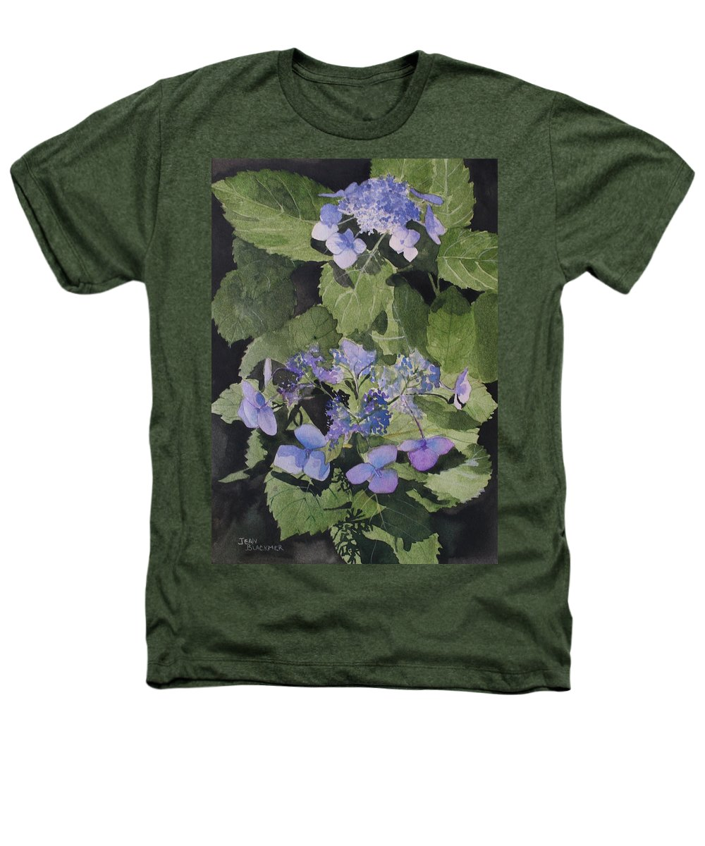 Flowers Heathers T-Shirt featuring the painting Blue Lace by Jean Blackmer