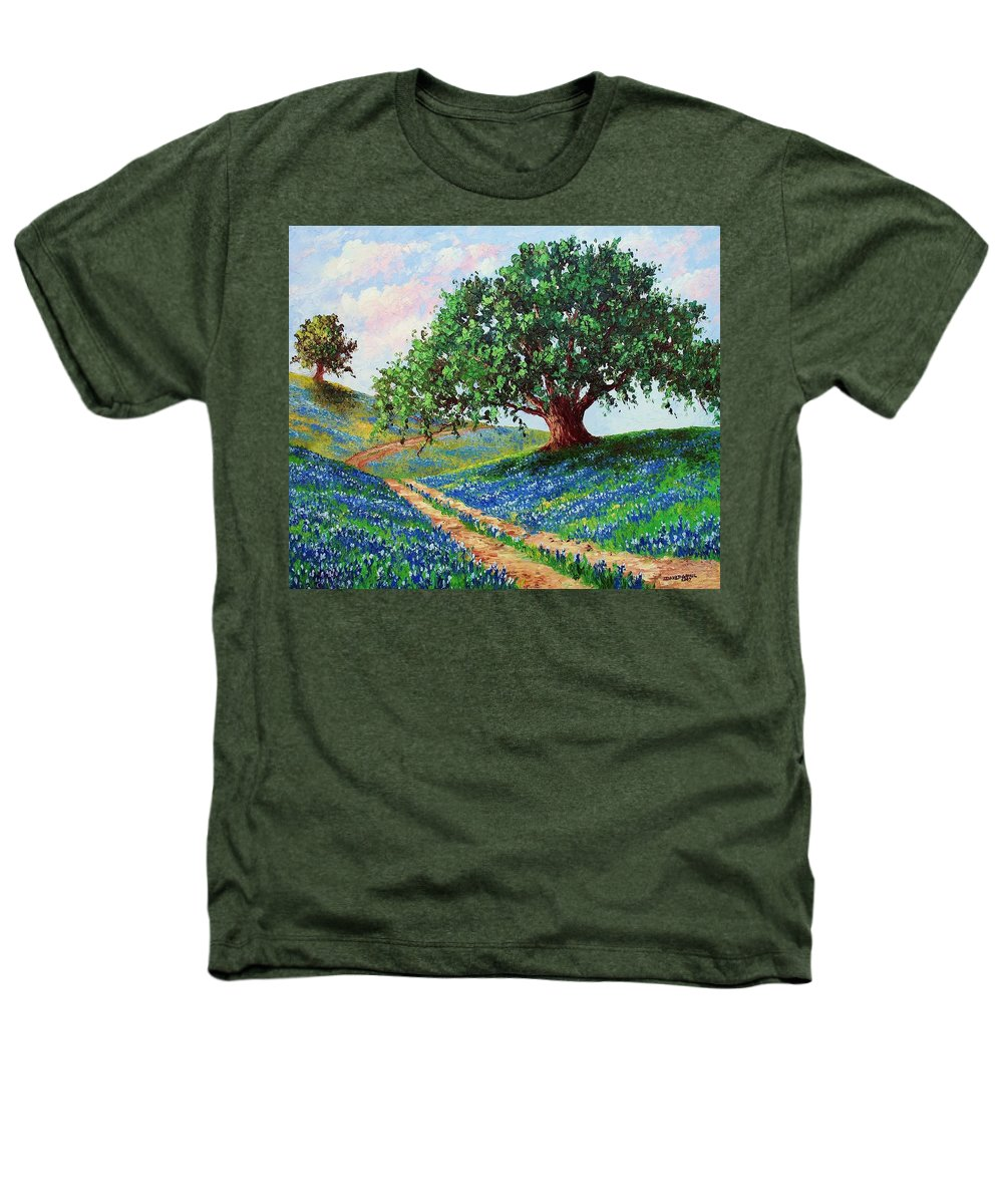 Bluebonnet Heathers T-Shirt featuring the painting Bluebonnet Road by David G Paul
