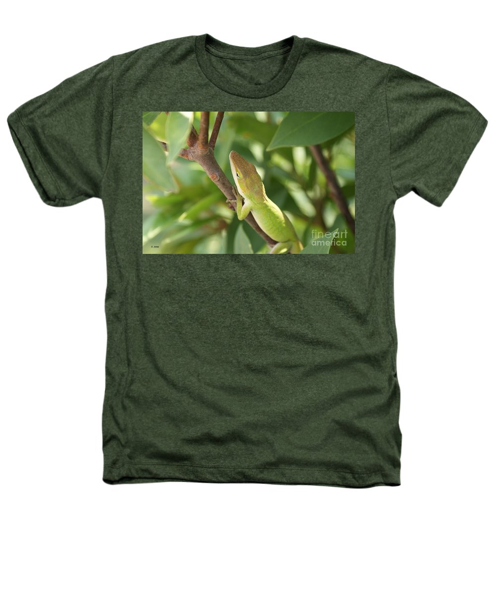 Lizard Heathers T-Shirt featuring the photograph Blusing Lizard by Shelley Jones