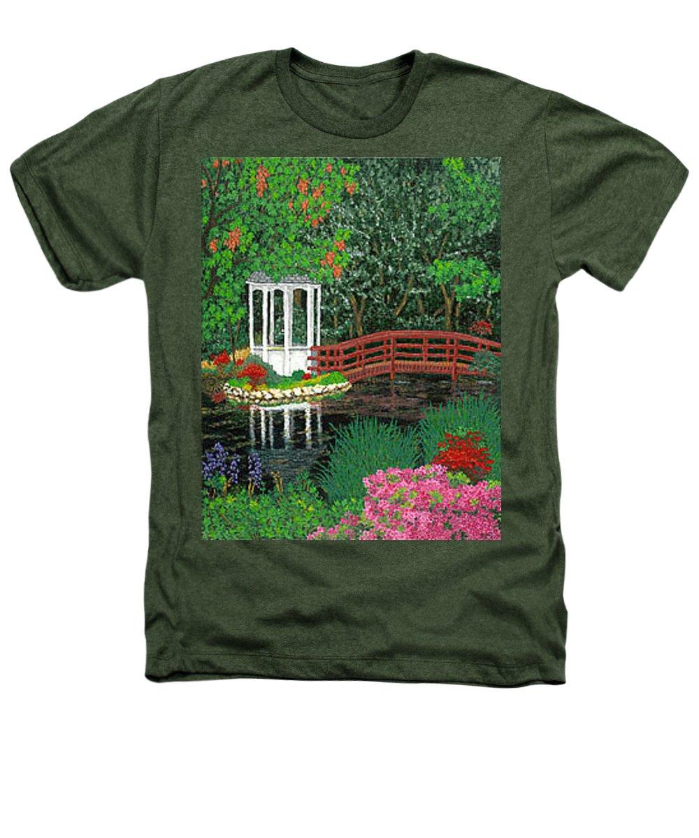 Art Heathers T-Shirt featuring the painting Botanical Garden Park Walk Pink Azaleas Bridge Gazebo Flowering Trees Pond by Baslee Troutman