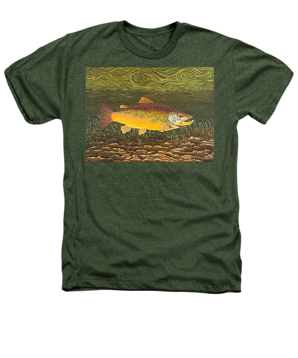 Art Print Prints Canvas Framed Giclee Fine Brown Trout Fish Angler Angling Fishing Fishermen Decor Heathers T-Shirt featuring the painting Brown Trout Fish Art Print Touch Down Brown Trophy Size Football Shape Brown Trout Angler Angling by Baslee Troutman