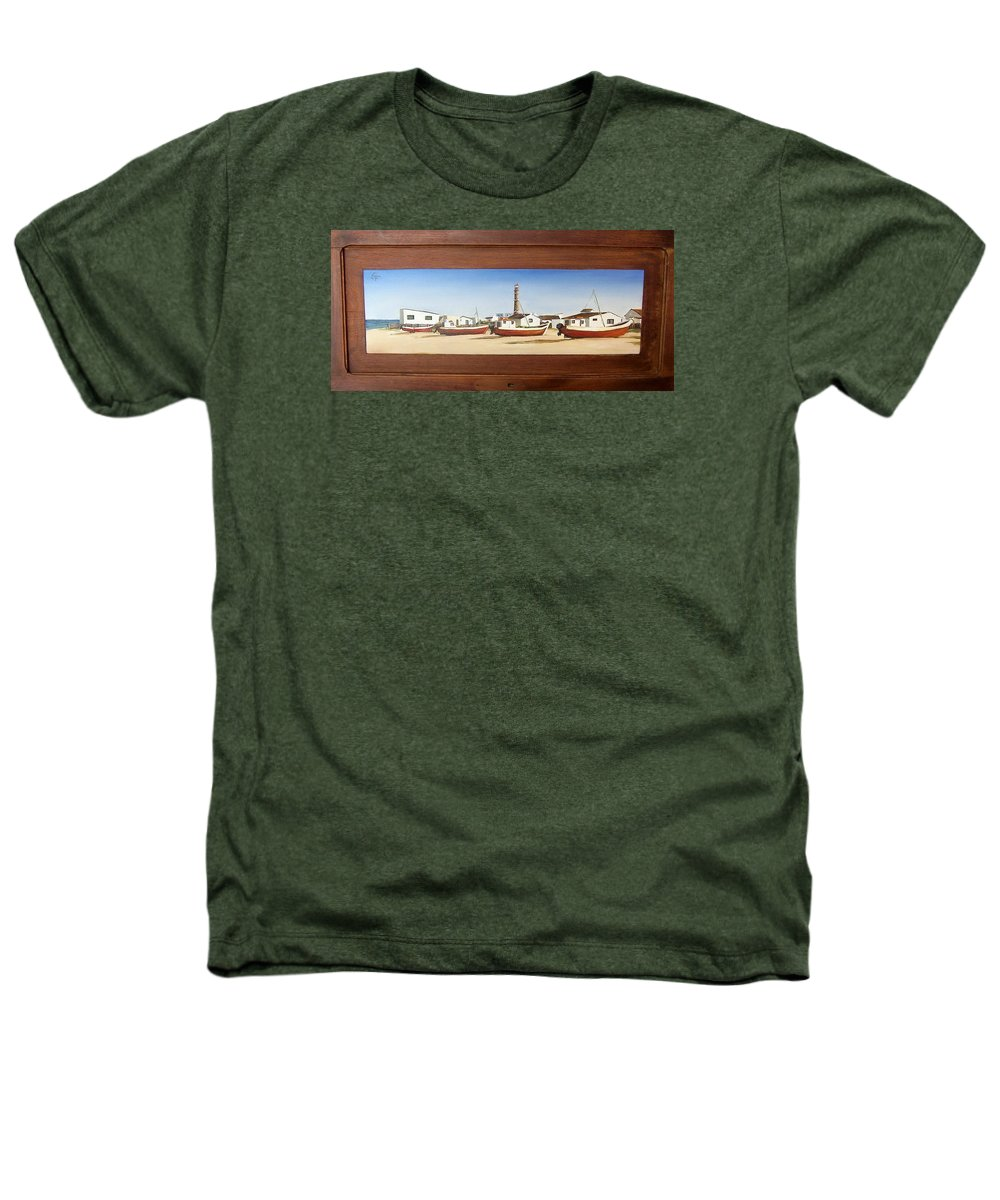 Landscape Seascape Uruguay Beach Boats Sea Lighthouse Heathers T-Shirt featuring the painting Cabo Polonio 2 by Natalia Tejera