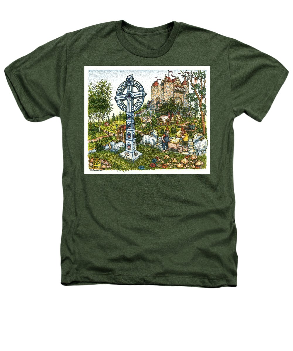 Castle Heathers T-Shirt featuring the drawing Castle Cross by Bill Perkins