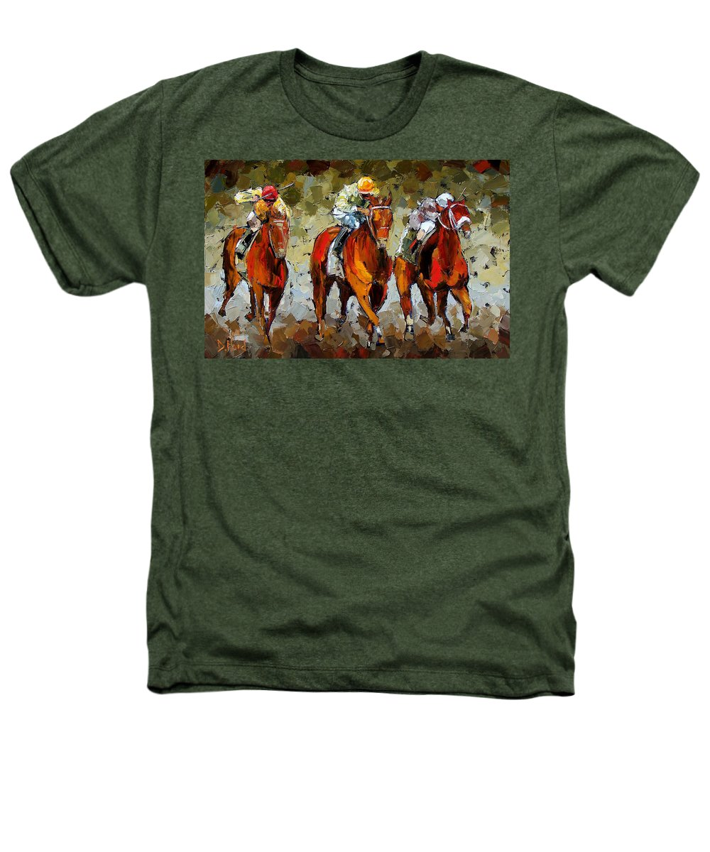 Horses Heathers T-Shirt featuring the painting Close Race by Debra Hurd