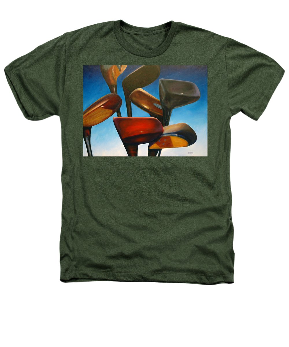 Golf Clubs Brown Heathers T-Shirt featuring the painting Clubs Rising by Shannon Grissom