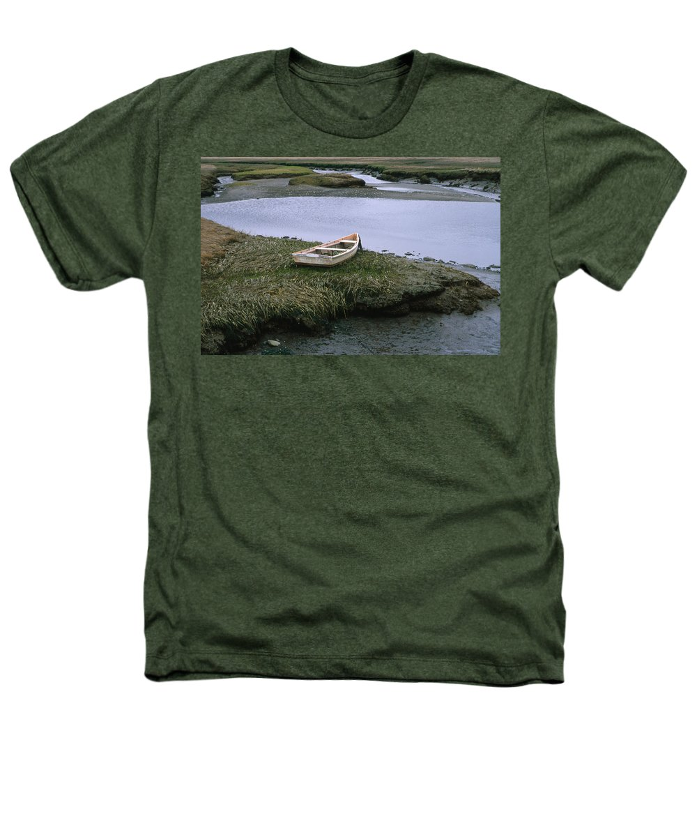 Landscape New England Marsh Row Boat Rye Harbor Heathers T-Shirt featuring the photograph Cnrf0503 by Henry Butz