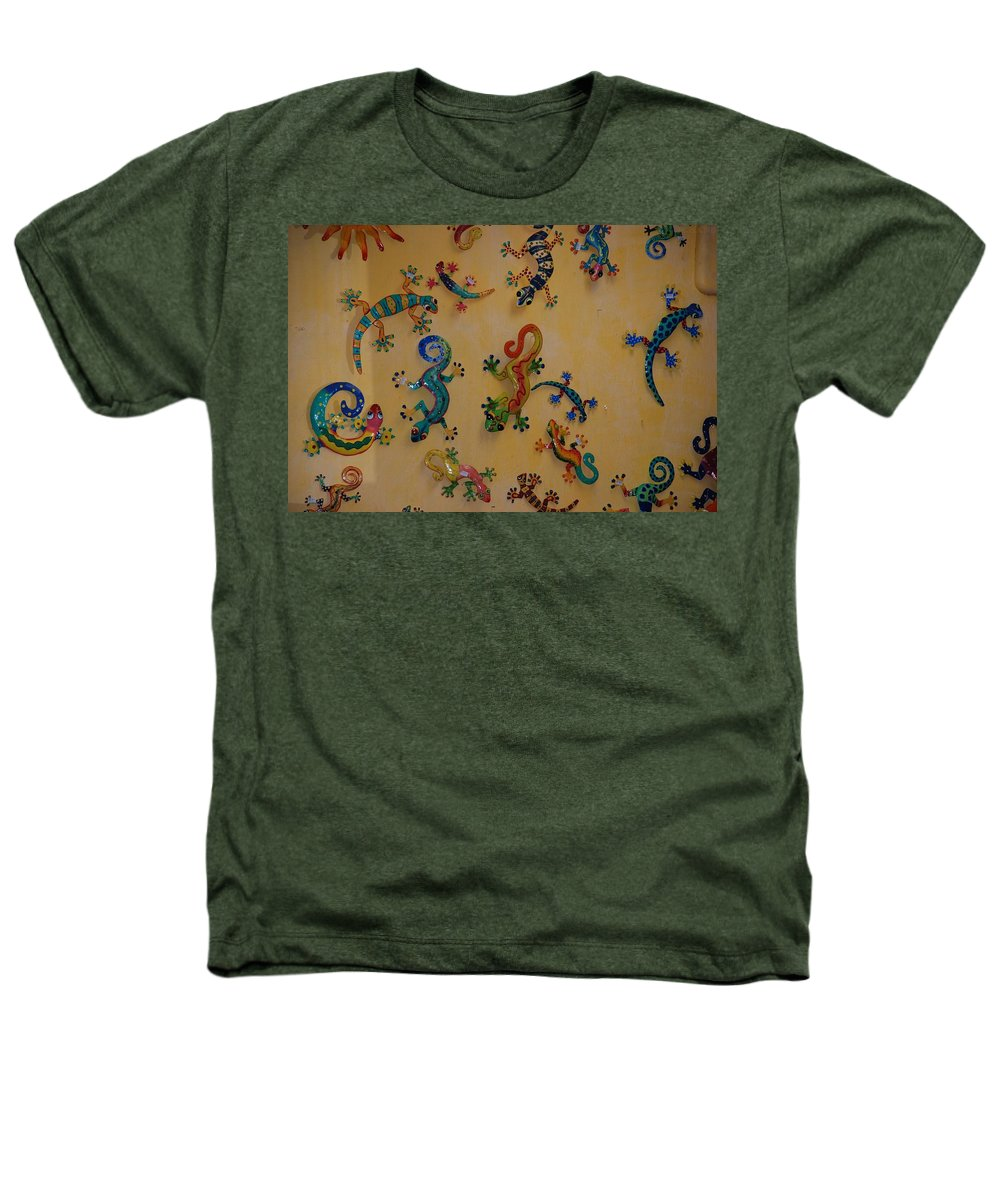Pop Art Heathers T-Shirt featuring the photograph Color Lizards On The Wall by Rob Hans