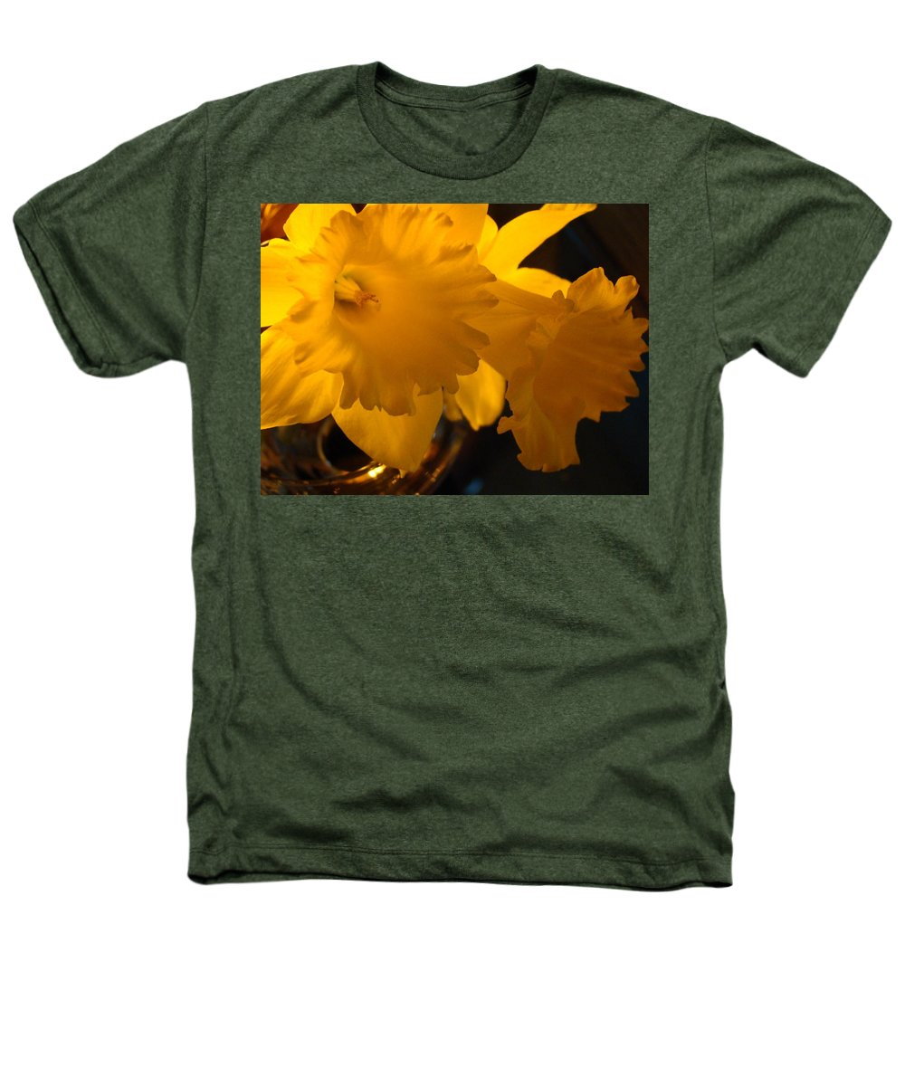 �daffodils Artwork� Heathers T-Shirt featuring the photograph Contemporary Flower Artwork 10 Daffodil Flowers Evening Glow by Baslee Troutman