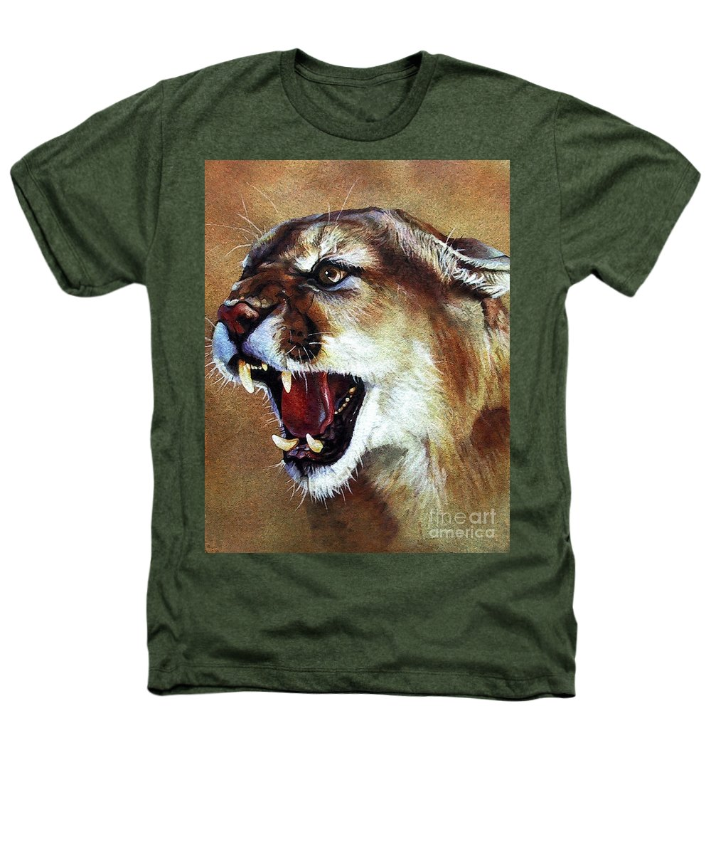 Southwest Art Heathers T-Shirt featuring the painting Cougar by J W Baker