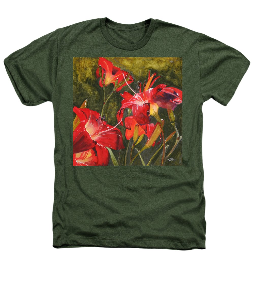 Red Heathers T-Shirt featuring the painting Crimson Light by Jean Blackmer
