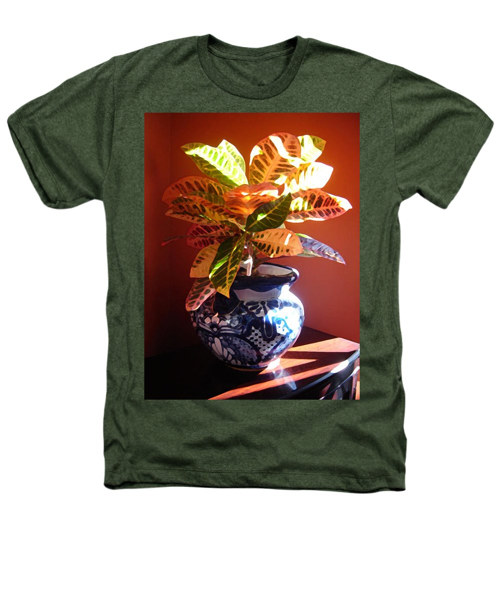 Potted Plant Heathers T-Shirt featuring the photograph Croton In Talavera Pot by Amy Vangsgard