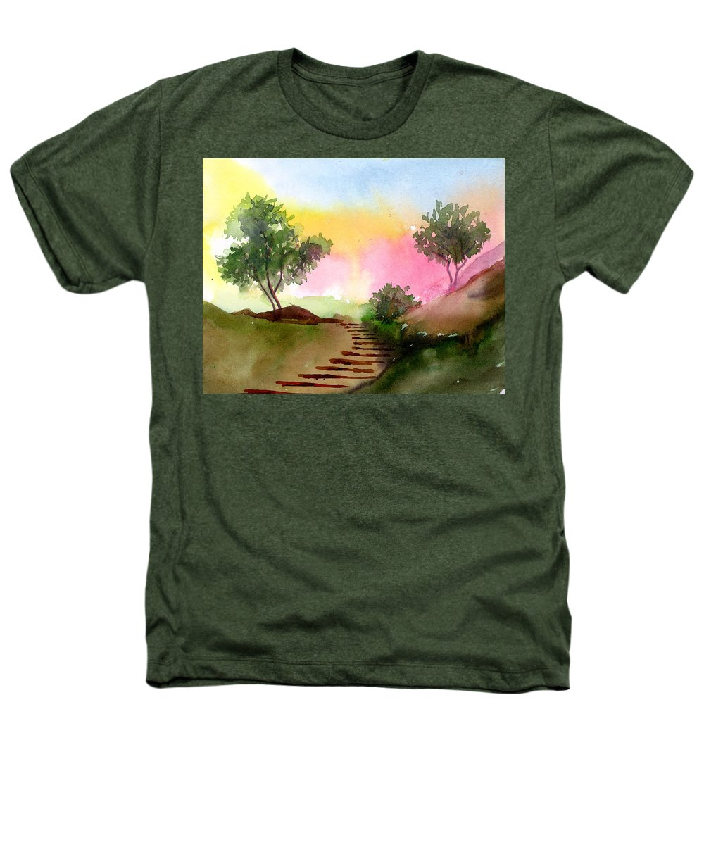 Landscape Heathers T-Shirt featuring the painting Dawn by Anil Nene