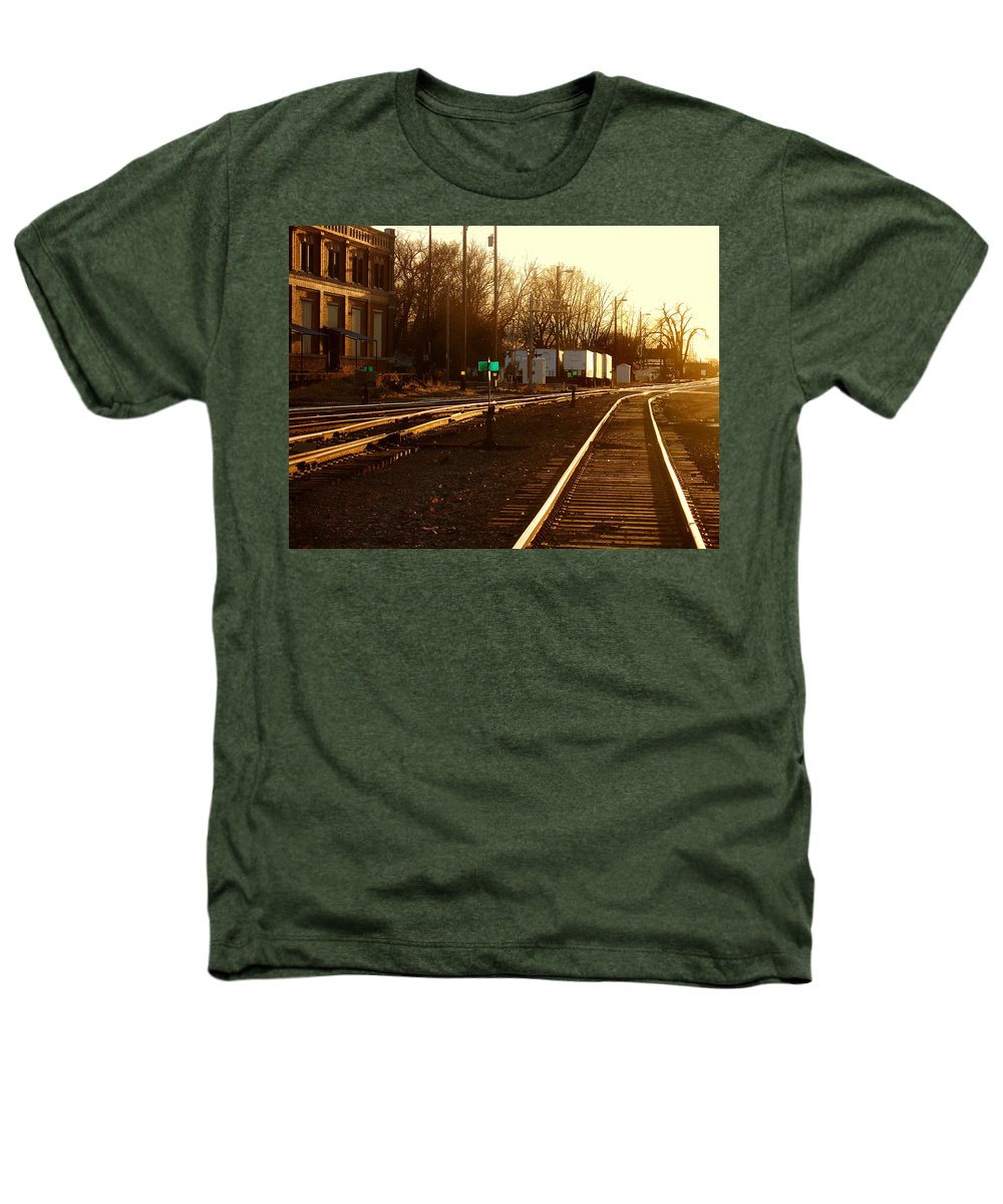 Landscape Heathers T-Shirt featuring the photograph Down The Right Track by Steve Karol