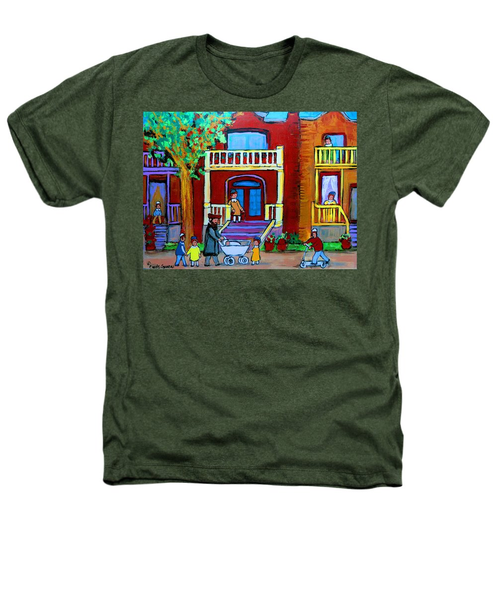 Judaica Heathers T-Shirt featuring the painting Durocher Street Montreal by Carole Spandau