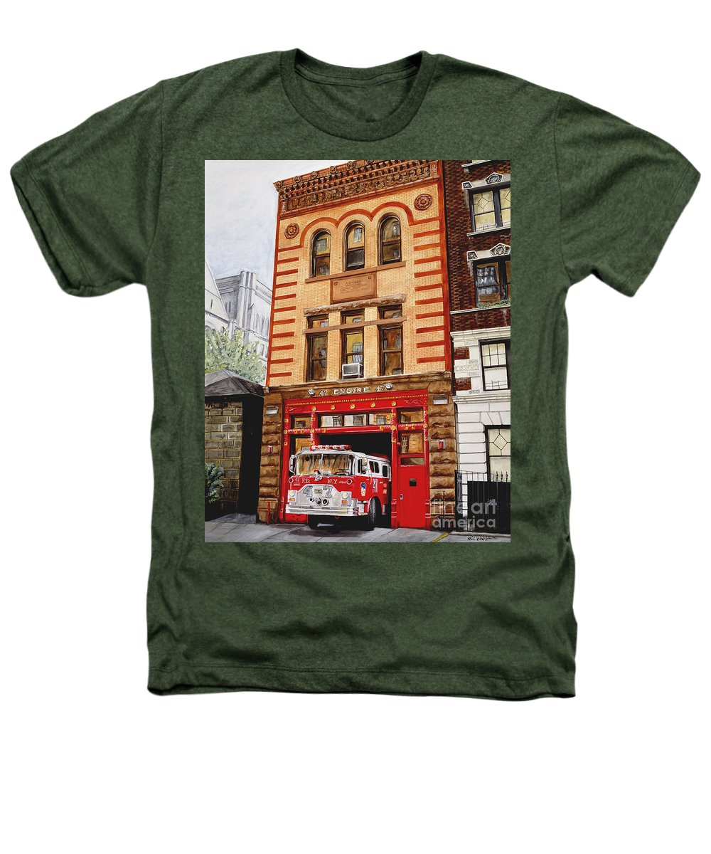 Firehouse Heathers T-Shirt featuring the painting Engine Company 47 by Paul Walsh
