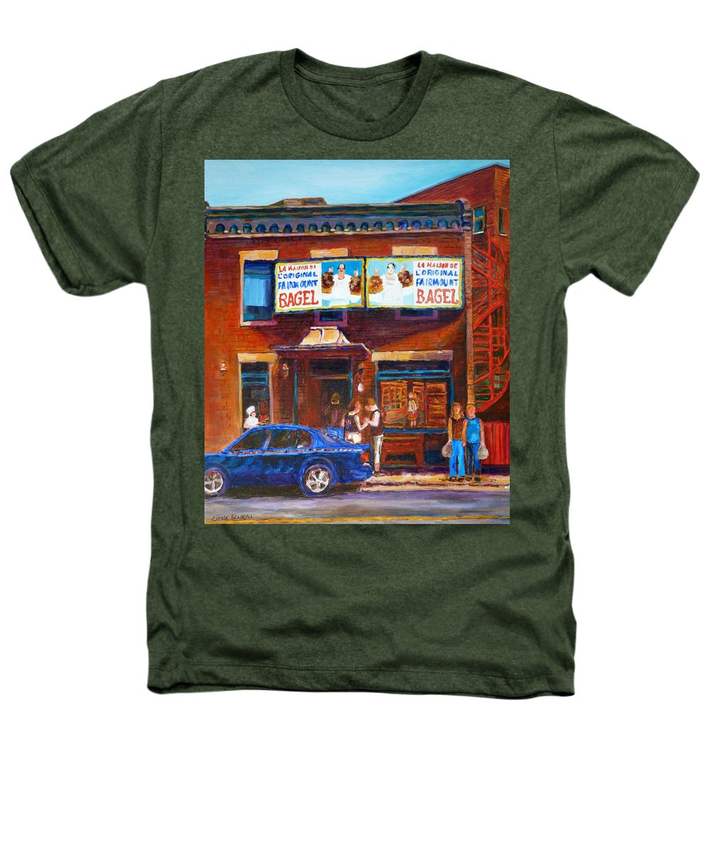 Fairmount Bagel Heathers T-Shirt featuring the painting Fairmount Bagel With Blue Car by Carole Spandau