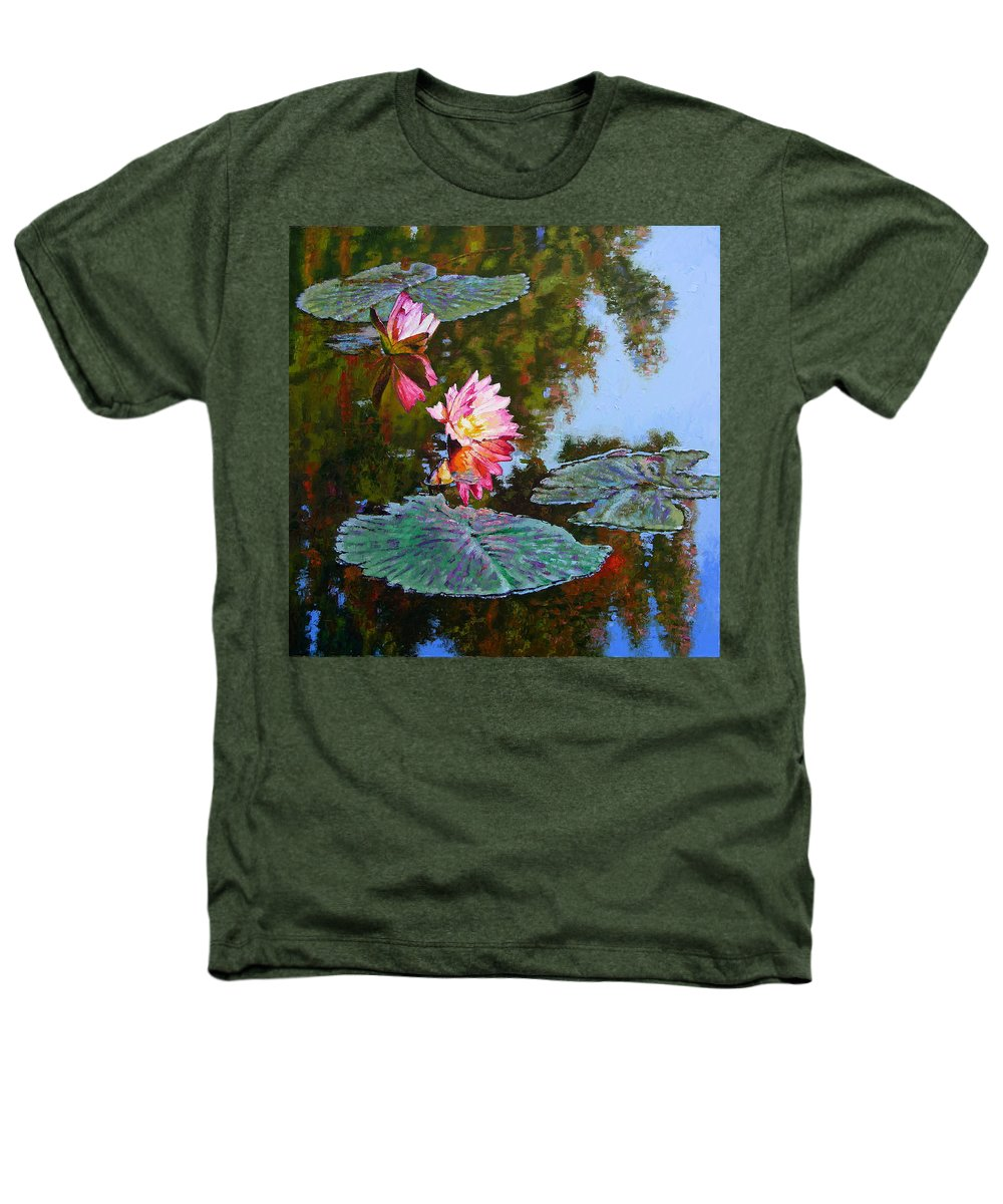 Water Lily Heathers T-Shirt featuring the painting Fall Glow by John Lautermilch