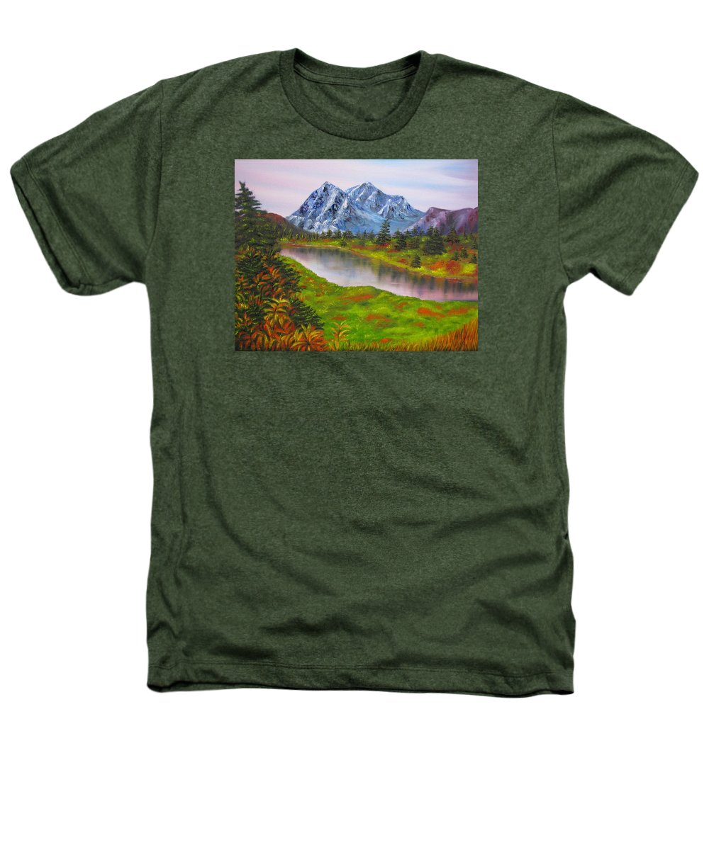 Fall Heathers T-Shirt featuring the painting Fall In Mountains Landscape Oil Painting by Natalja Picugina