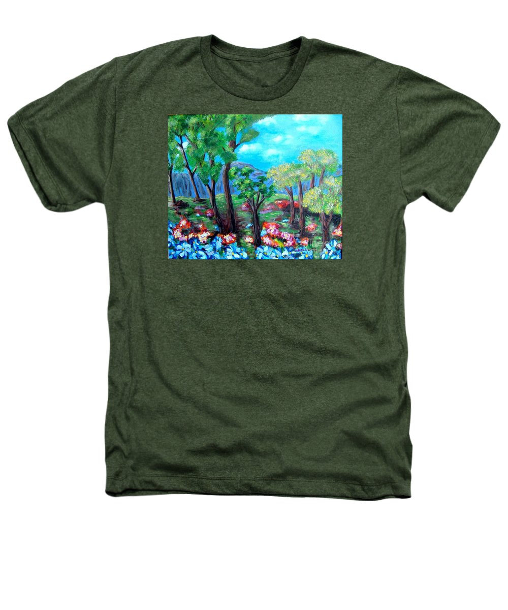 Fantasy Heathers T-Shirt featuring the painting Fantasy Forest by Laurie Morgan