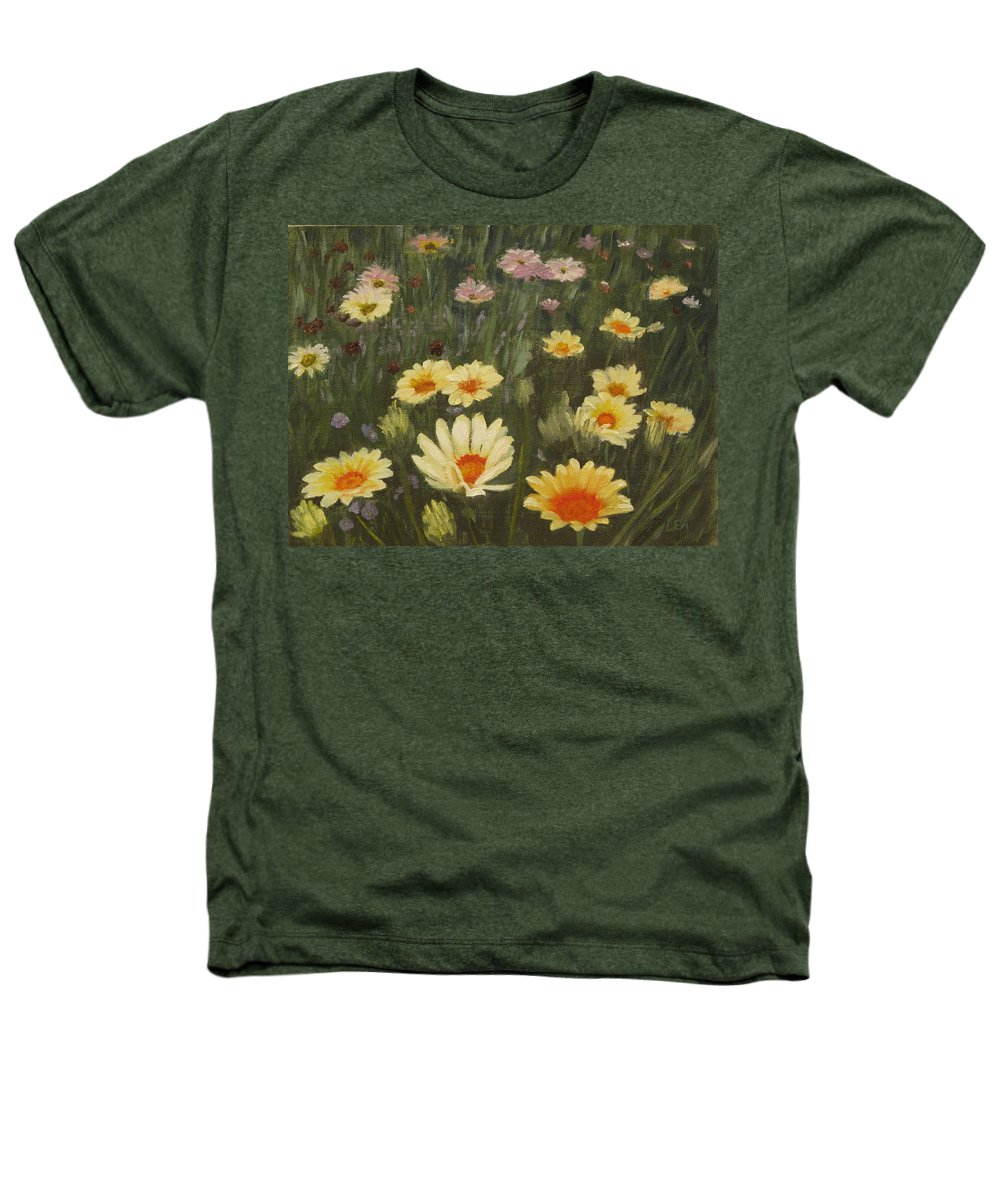 Flower Heathers T-Shirt featuring the painting Field Of Flowers by Lea Novak