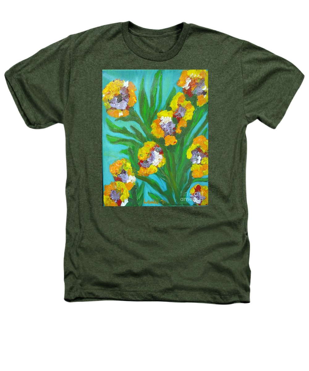Flower Heathers T-Shirt featuring the painting Fire Blossoms by Laurie Morgan