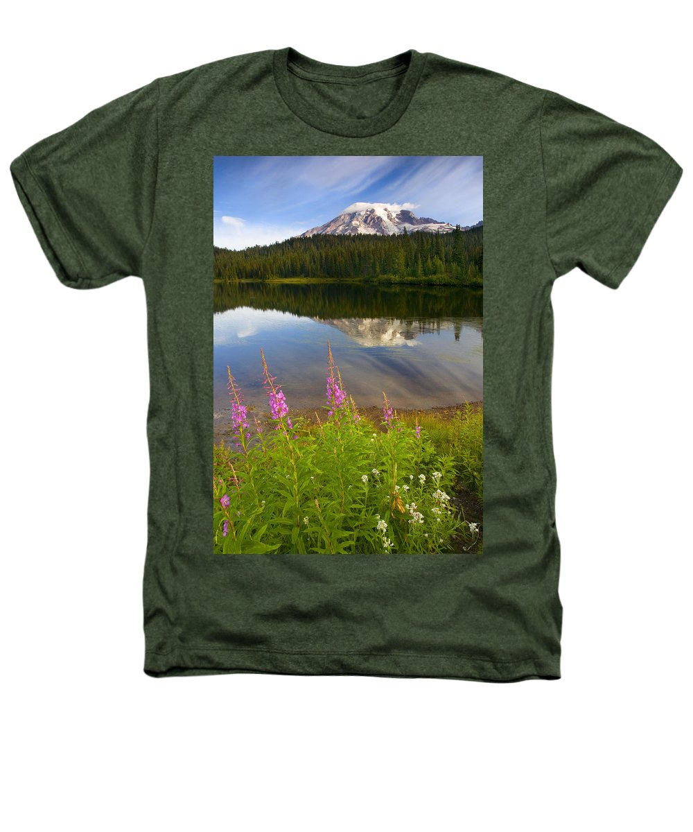Fireweed Heathers T-Shirt featuring the photograph Fireweed Reflections by Mike Dawson