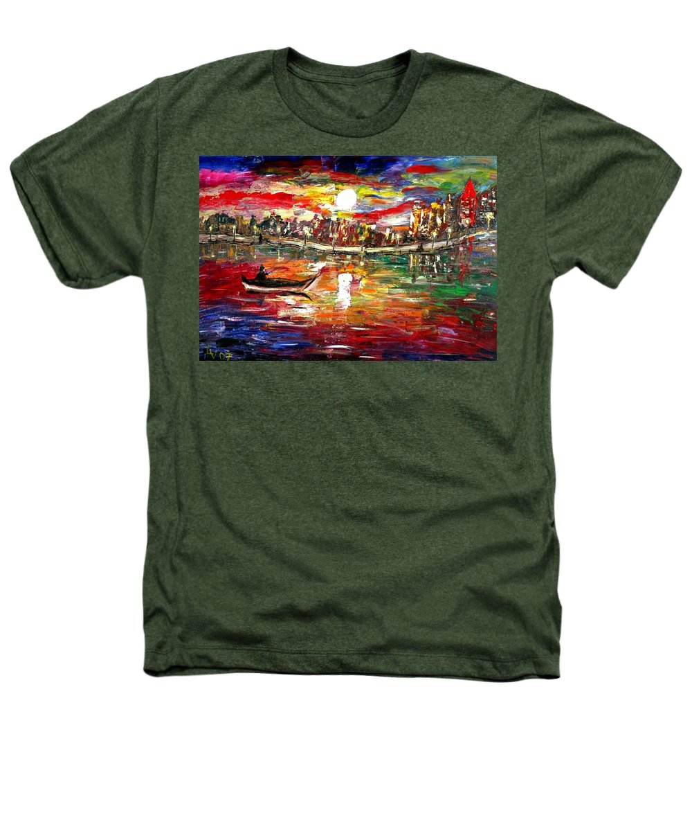 Art Heathers T-Shirt featuring the painting Fishing In The Moonlight by Luiza Vizoli