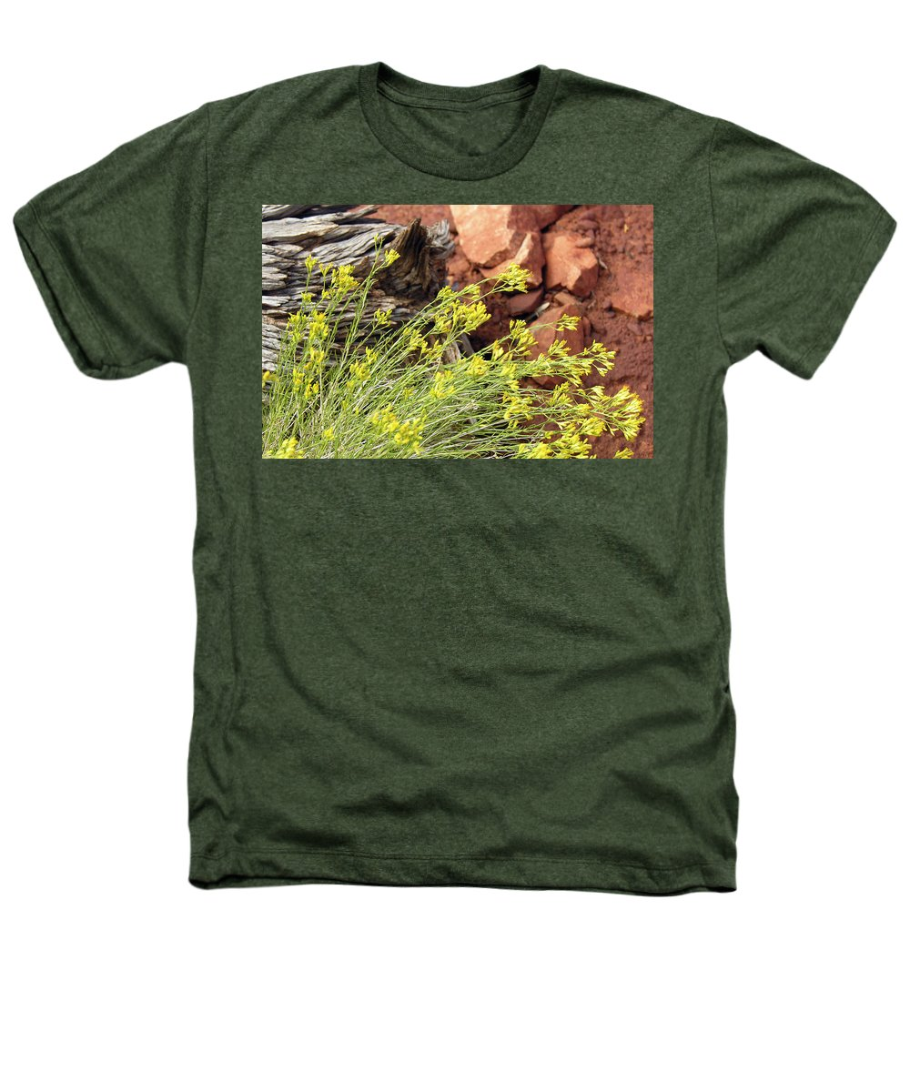 Flower Heathers T-Shirt featuring the photograph Flower Wood And Rock by Marilyn Hunt