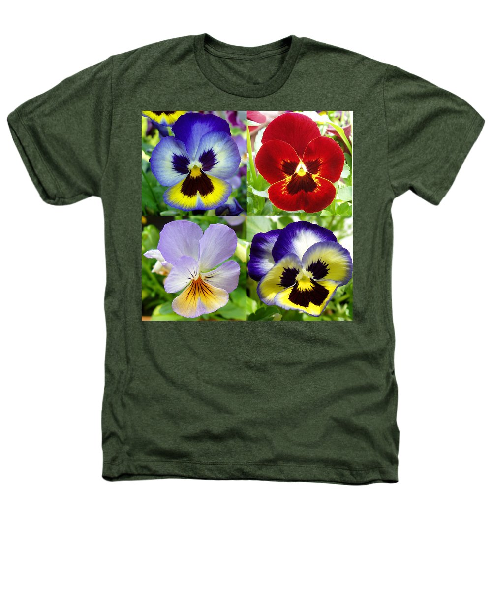 Pansy Heathers T-Shirt featuring the photograph Four Pansies by Nancy Mueller