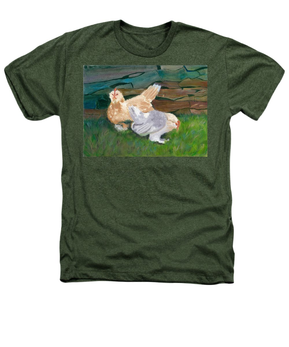 Chickens Bantams Countryside Stonewall Farm Heathers T-Shirt featuring the painting Fowl Play by Paula Emery