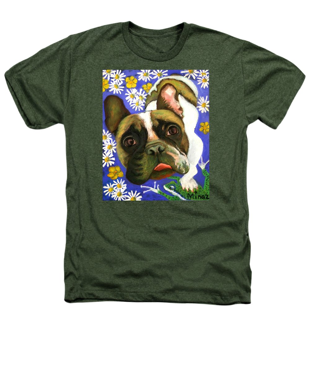 Pet Portrait Heathers T-Shirt featuring the painting Frenchie Plays With Frogs by Minaz Jantz